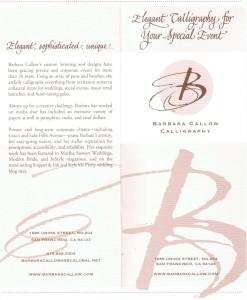 Barbara Callow Calligraphy brochure