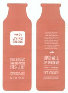 Living Greens juice bottle